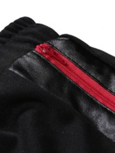 Fashion Casual Lace-Up Pocket Color Block Leather Striped Men's Casual Pants