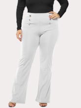 Button Plain Loose Full Length Women's Casual Pants