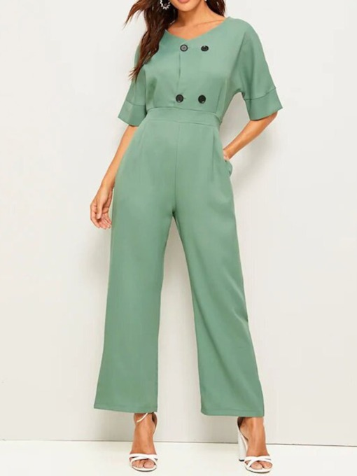 Ankle Length Plain Button Wear to Work High Waist Women's Jumpsuit