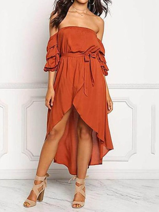 Falbala Off Shoulder Ruffle Sleeve Women's Maxi Dress