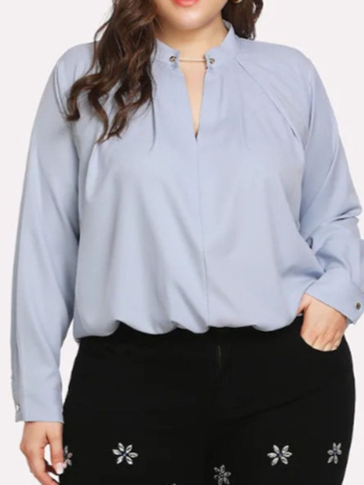 Stand Collar Plus Size Plain Mid-Length Women's Blouse