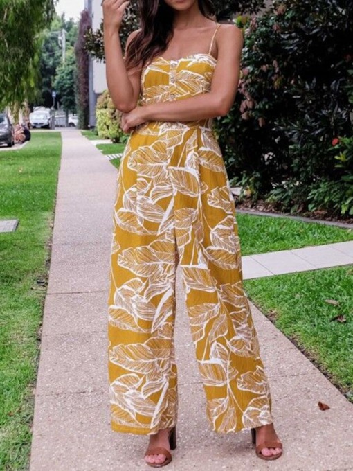 Print Plant Travel Look Full Length Wide Legs Women's Jumpsuit