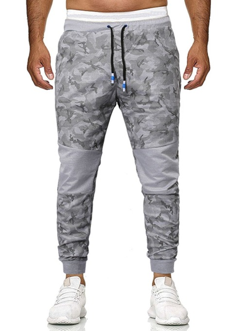 Color Block Camouflage Print Stitching Color Lace-Up Men's Casual Pants