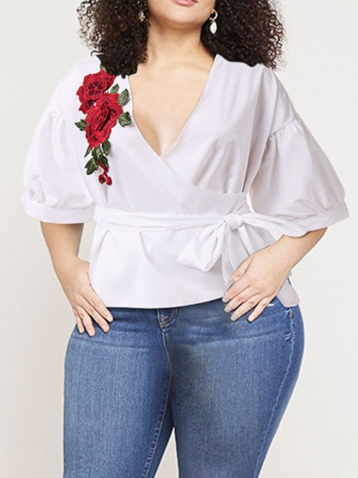 Plus Size Embroidery V-Neck Floral Standard Women's Blouse