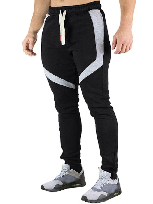 Fashion Casual Lace-Up Color Block Striped Print Full Length Men's Casual Pants