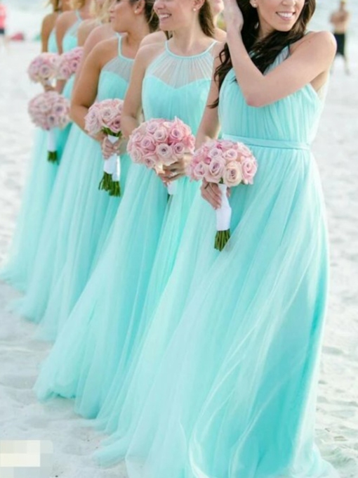 Halter Pleats Beach Bridesmaid Dress