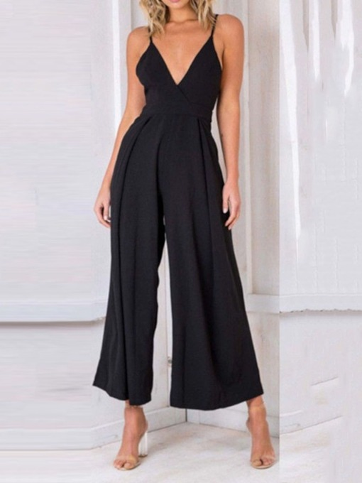 Plain Pleated Sexy Ankle Length Loose Women's Jumpsuit
