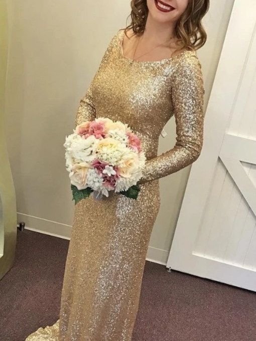 Scoop Neck Sequins Sheath Bridesmaid Dress 2019