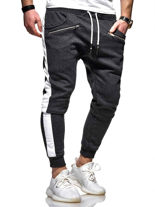 Lace-Up Striped Print Color Block Harem Mid Waist Men's Casual Pants