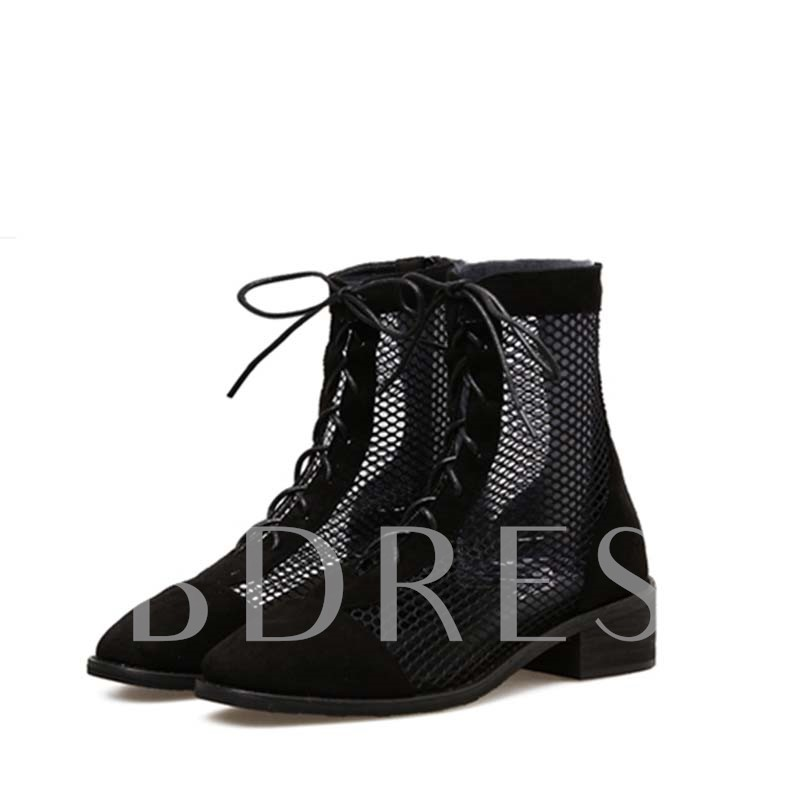 Mesh Hollow Chunky Heel Back Zip Women's Ankle Boots