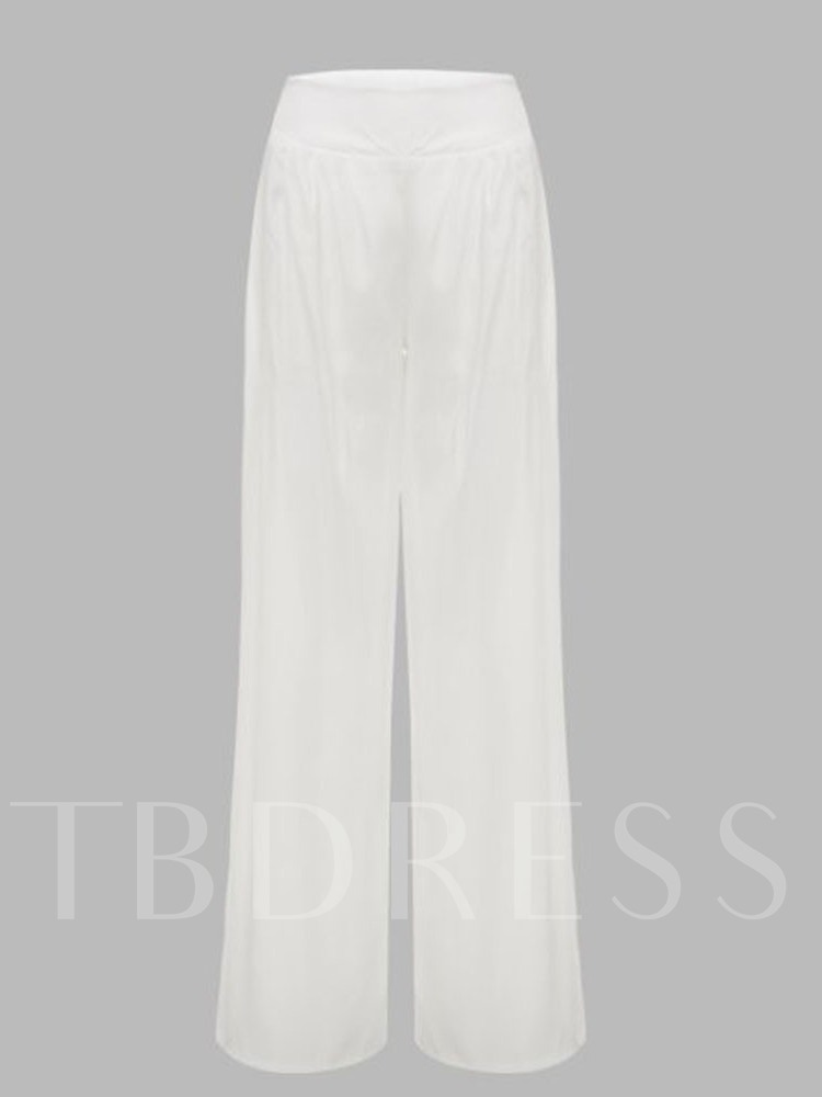 Pleated Plain Loose Full Length Women's Casual Pants