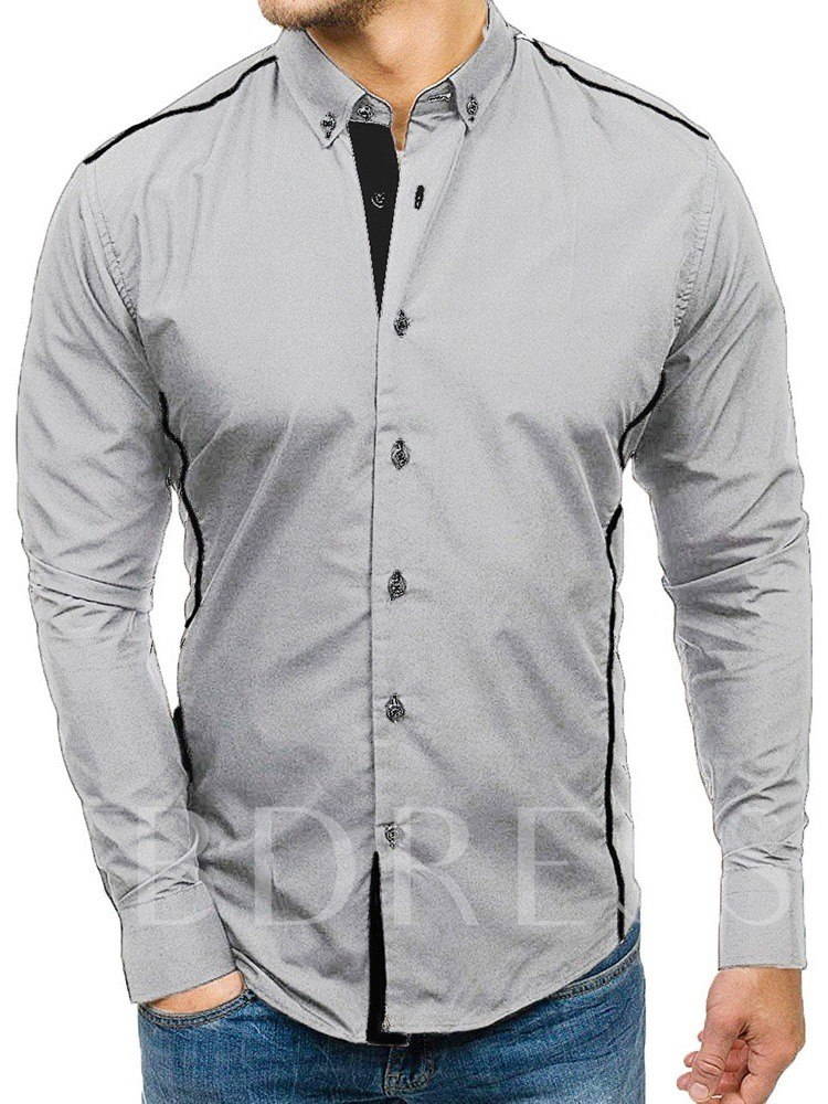 Button Color Block Casual Lapel Single-Breasted Men's Shirt