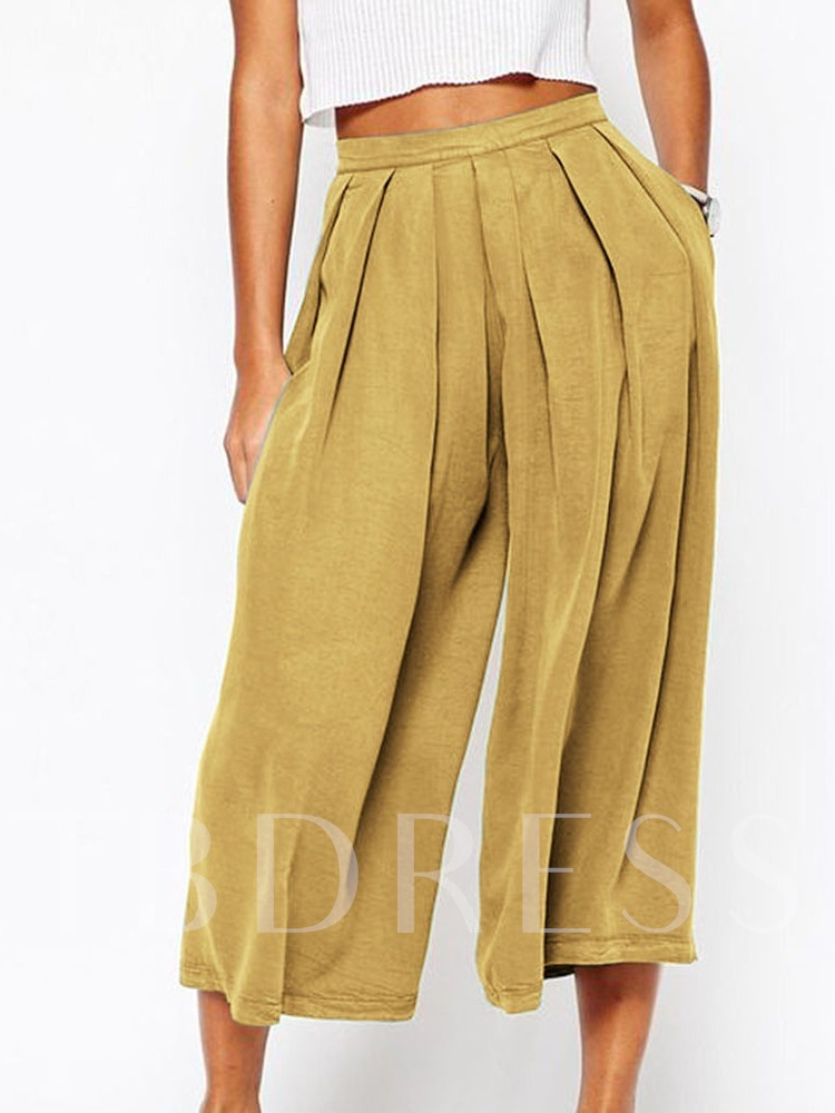 Plain Loose Pleated Mid Waist Women's Casual Pants