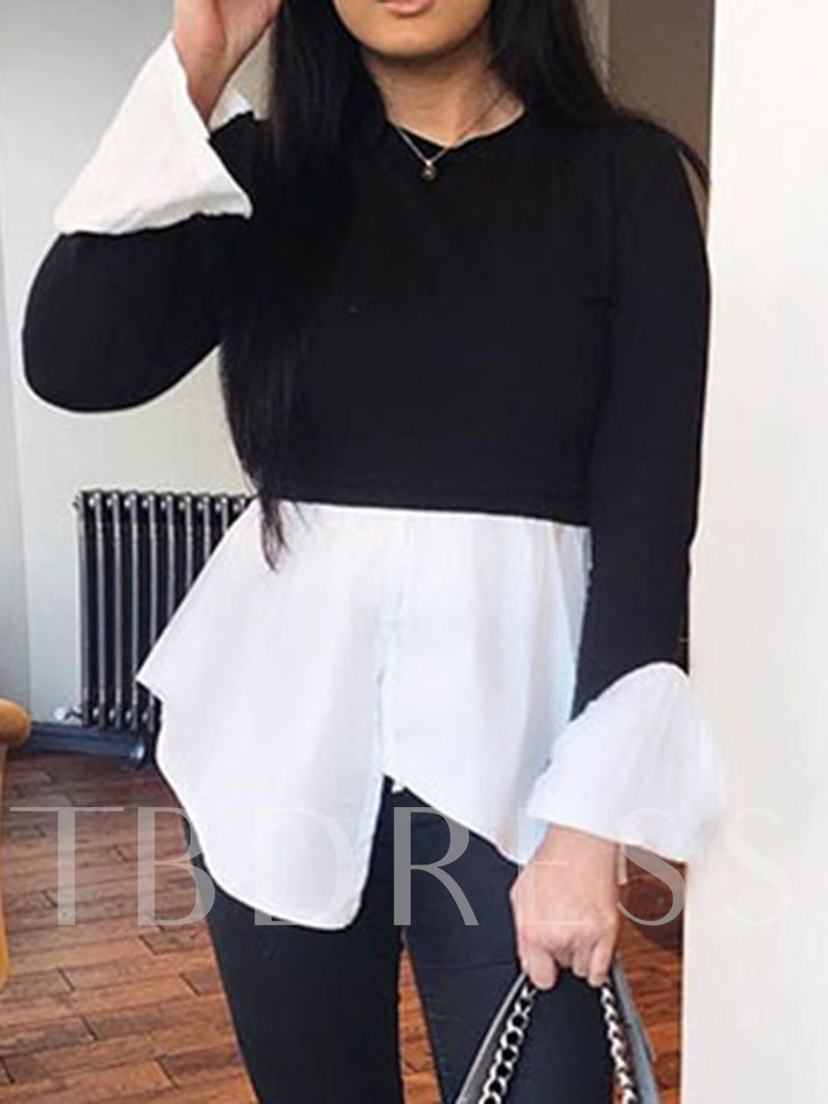 Round Neck Mid-Length Long Sleeve Color Block Casual Women's T-Shirt