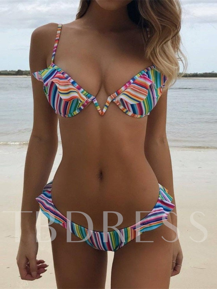 Sexy Bikini Set Falbala Stripe Women's Swimwear