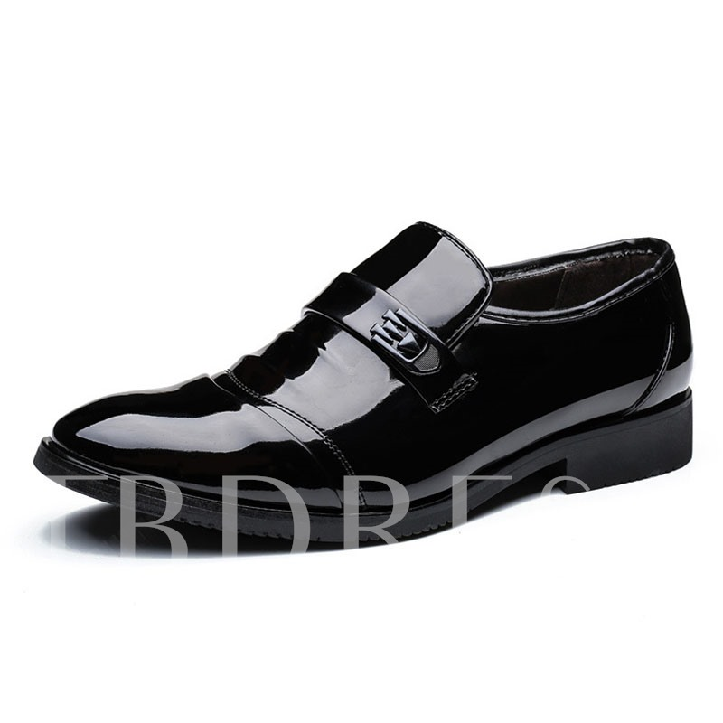 Patent Leather Slip-On Plain Round Toe Men's Business Shoes