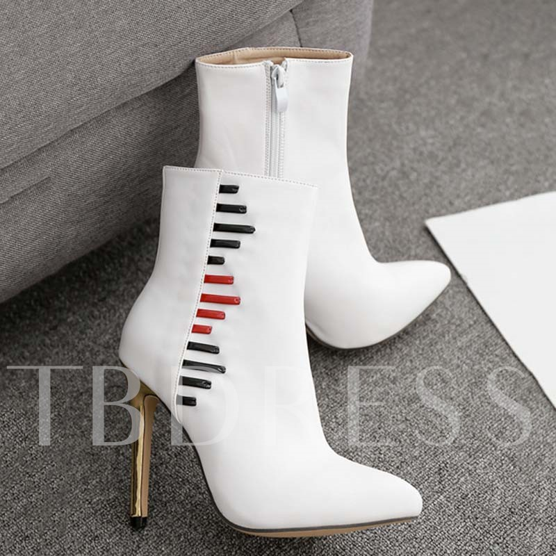 Pointed Toe Color Block Stiletto Heel Side Zipper Casual Boots