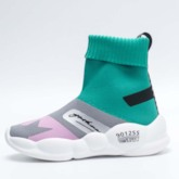 Letter Print High Top Slip-On Color Block Women's Sneakers