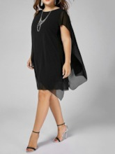 Plus Size Round Neck Short Sleeve Asymmetric Women's Dress