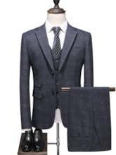 Cotton Breathable 3-Piece Set Fashion Single-Breasted Color Block Men's Dress Suit