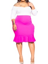 Plus Size Casual Plain Skirt Pullover Women's Two Piece Sets