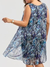 Plus Size Scoop Sleeveless Patchwork Summer Women's Dress