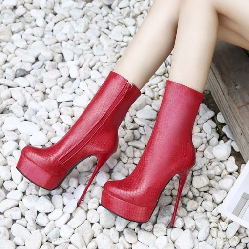 Stiletto Heel Round Toe Plain Side Zipper Women's Ankle Boots