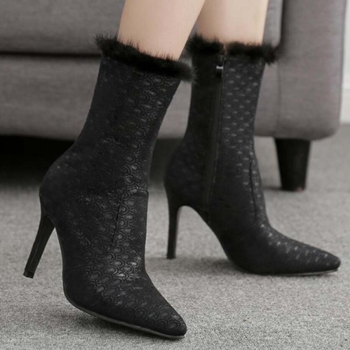 Pointed Toe Side Zipper Plain Stiletto Heel Sexy Ankle Boots