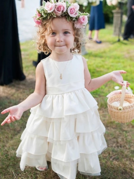 Tea-Length Tiered Flower Girl Dress 2019