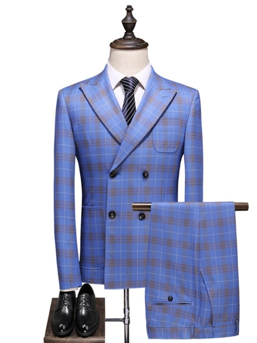 Fashion Plaid Printed Button Blazer Double-Breasted Color Block Men's Dress Suit