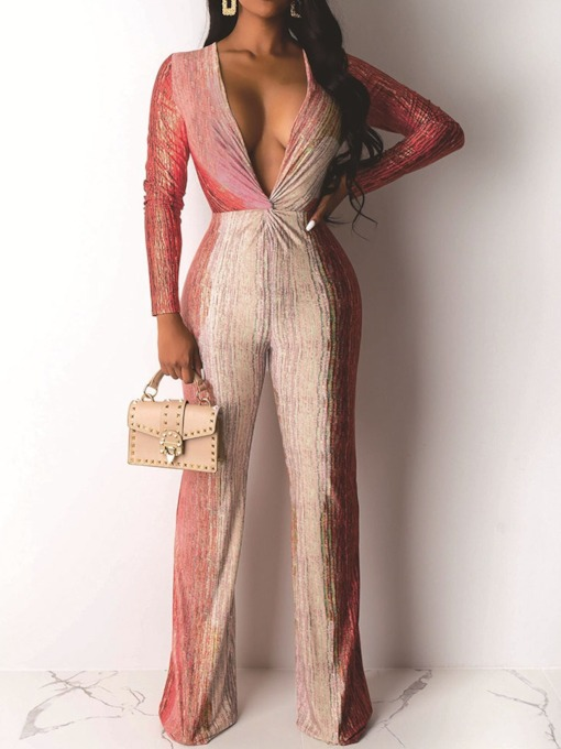 Full Length Patchwork Color Block Sexy Straight Women's Jumpsuit