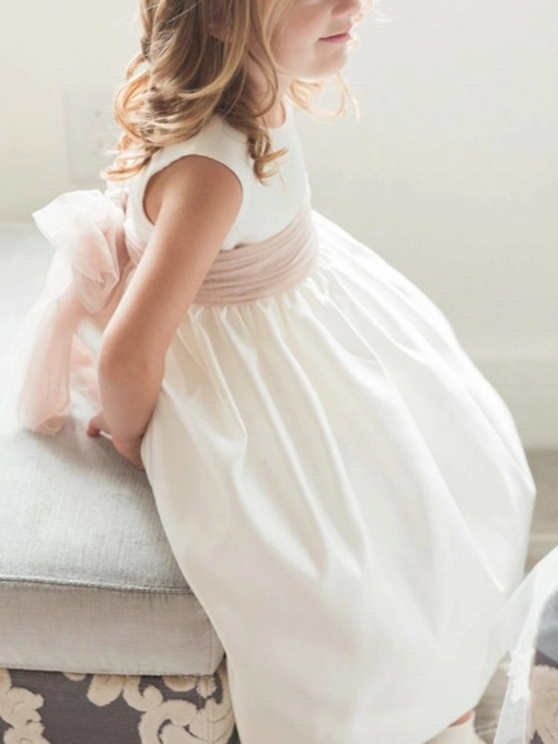 Button Round Neck Button Sashes Flower Girl Dress 2019