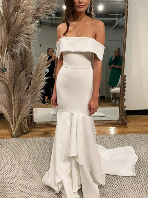 Off-The-Shoulder Mermaid Beach Wedding Dress 2019