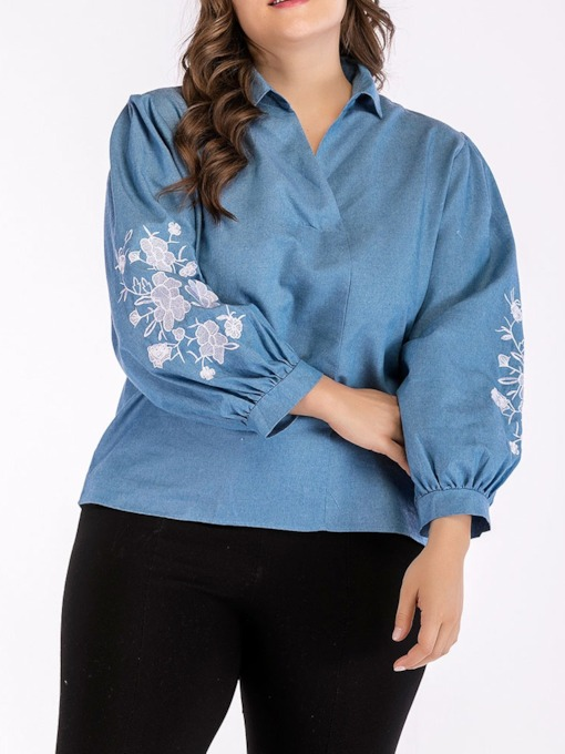 Floral Plus Size Lantern Sleeve Lapel Embroidery Mid-Length Women's Blouse