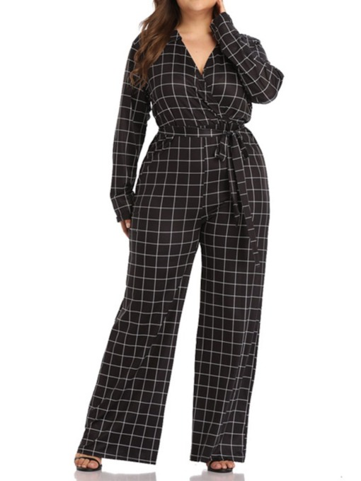 Plus Size Plaid Full Length Fashion Straight Women's Jumpsuit