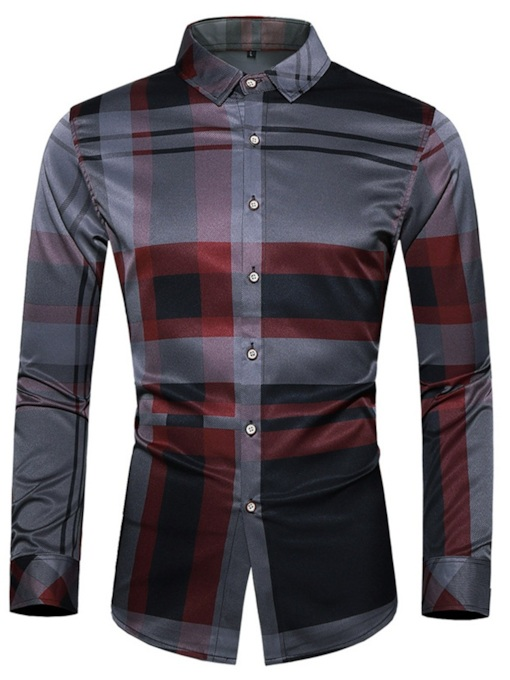 Fashion Classic Button OL Lapel Plaid Print Single-Breasted Men's Shirt