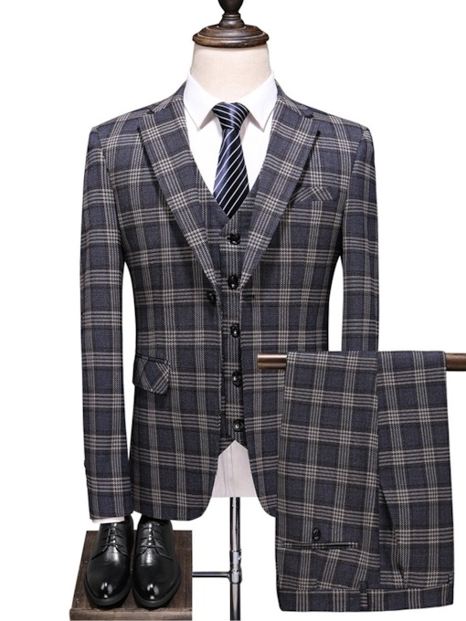 Fashion Classic Plaid Pocket Color Block Pants Fashion Men's Dress Suit