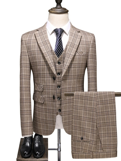 Plaid Single-Breasted Blazer Print Men's Dress Suit