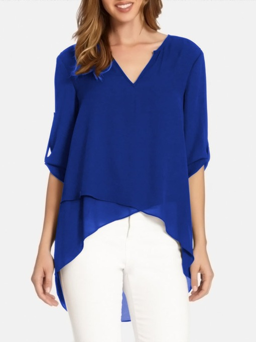 Asymmetric V-Neck Plain Mid-Length Women's Blouse