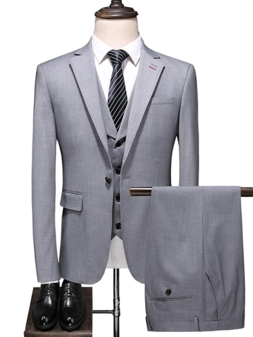 Fashion Three-Piece Suit Blazer Pants Vest Button Business Formal Men's Dress Suit