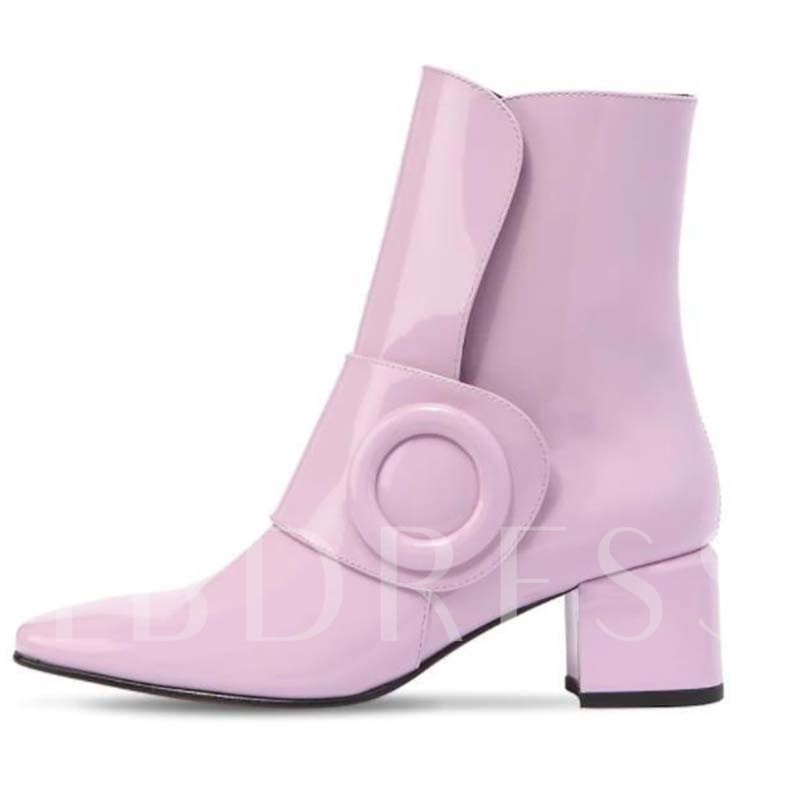 Chunky Heel Slip-On Pointed Toe Women's Ankle Boots
