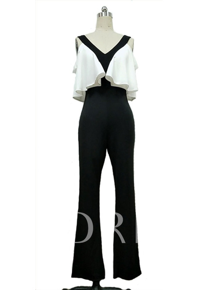 Full Length Backless Color Block Fashion High Waist Women's Jumpsuit