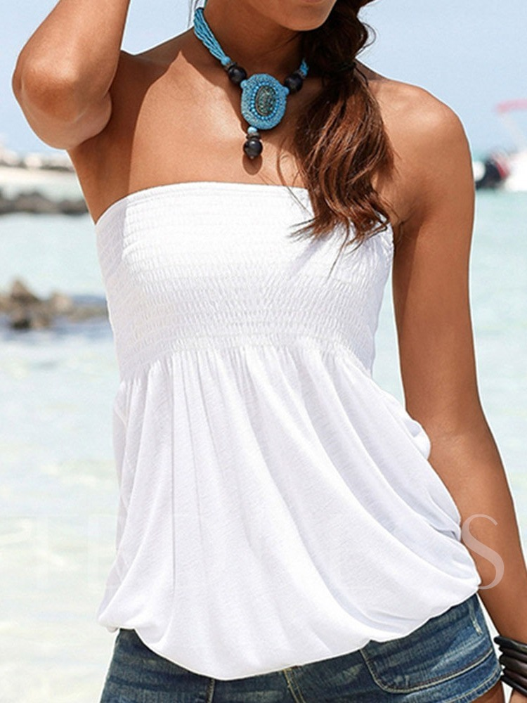 Summer Cotton Pleated Wrapped Chest Bra Standard Women's Tank Top