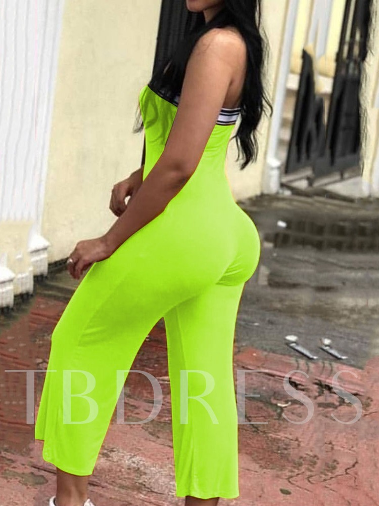 Mid-Calf Color Block Patchwork Casual Straight Women's Jumpsuit