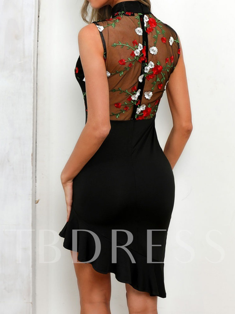 Stand Collar Sleeveless Hollow Embroidery Women's Bodycon Dress