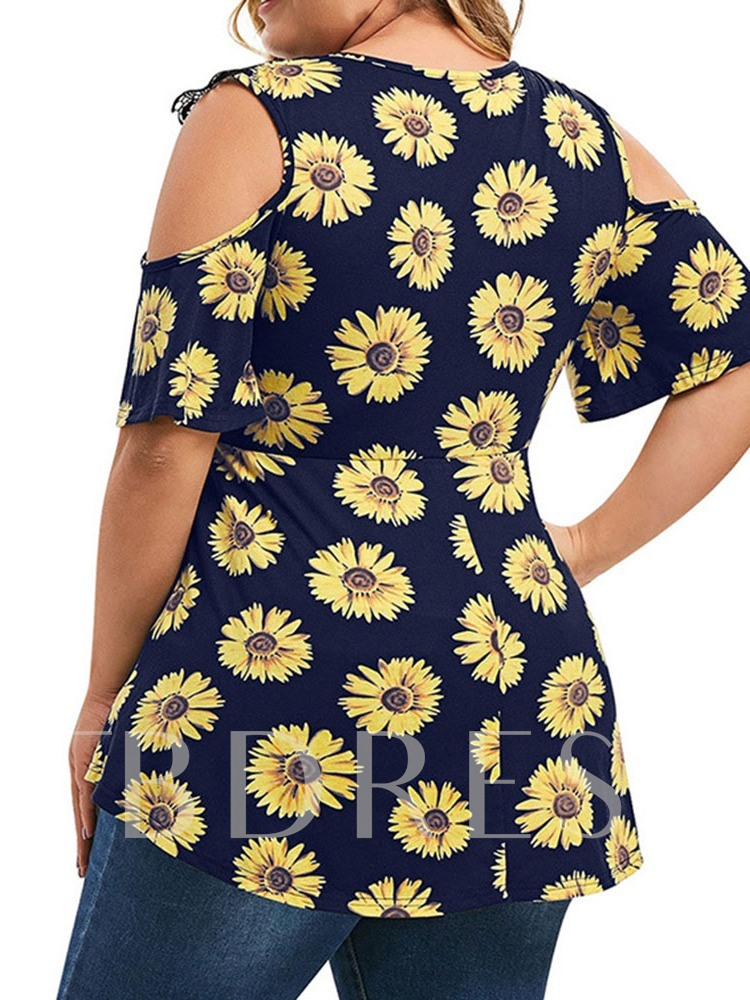 Short Sleeve Round Neck Mid-Length Floral Plus Size Women's T-Shirt