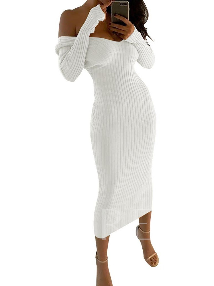 Long Sleeve V-Neck Cold Shoulder Fall Women's Maxi Dress