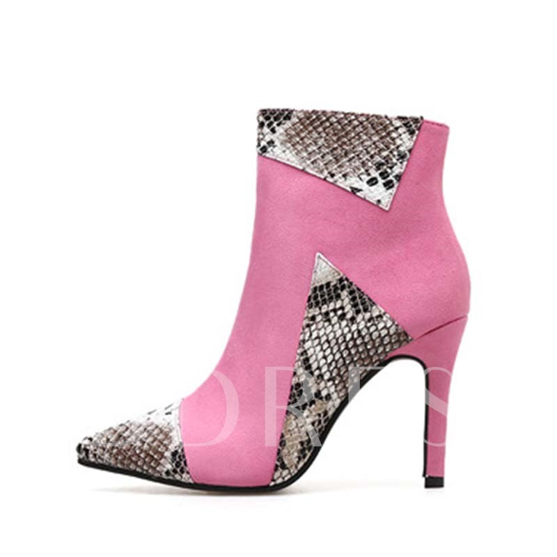 Stiletto Heel Pointed Toe Side Zipper Patchwork Women's Boots