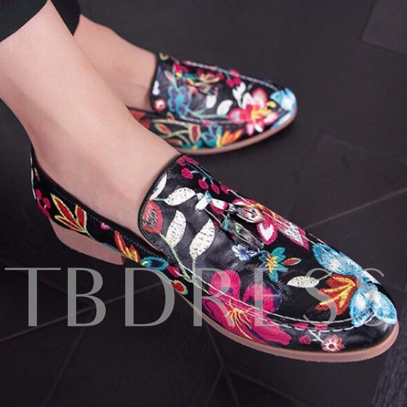 Floral Printed Round Toe Men's Prom Shoes