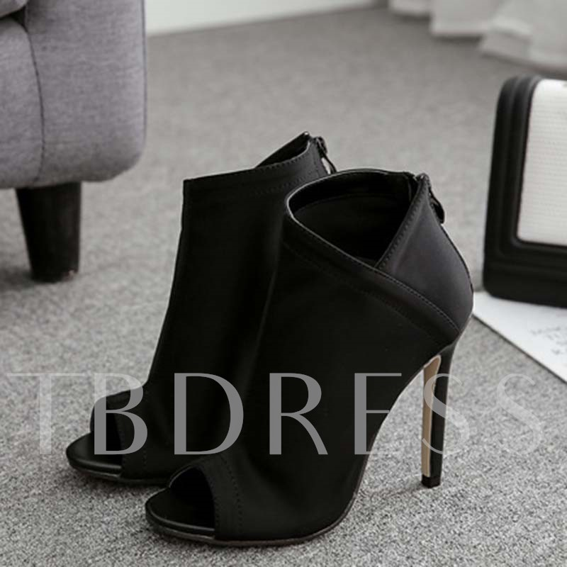 Peep Toe Thread Zipper Stiletto Heel Sandal Boots